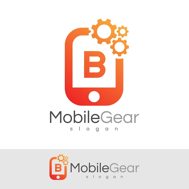 スマートモバイルの初期の手紙bロゴデザイン Premiumベクター