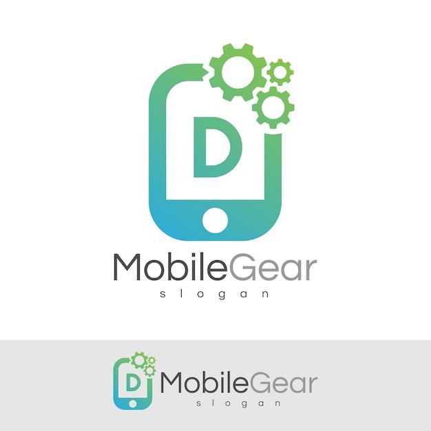 スマートモバイルの初期レターdロゴデザイン Premiumベクター