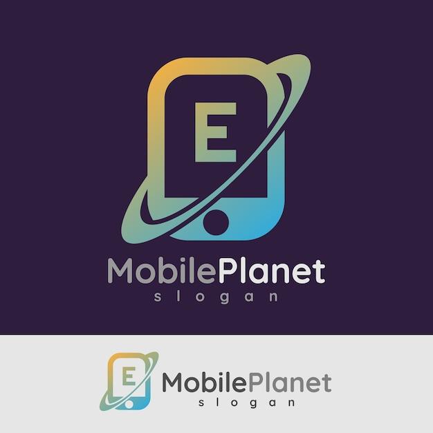 スマートモバイルの初期の手紙eロゴデザイン Premiumベクター