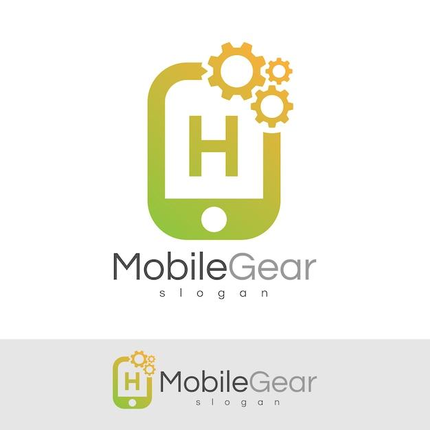 スマートモバイルの初期の手紙hロゴデザイン Premiumベクター