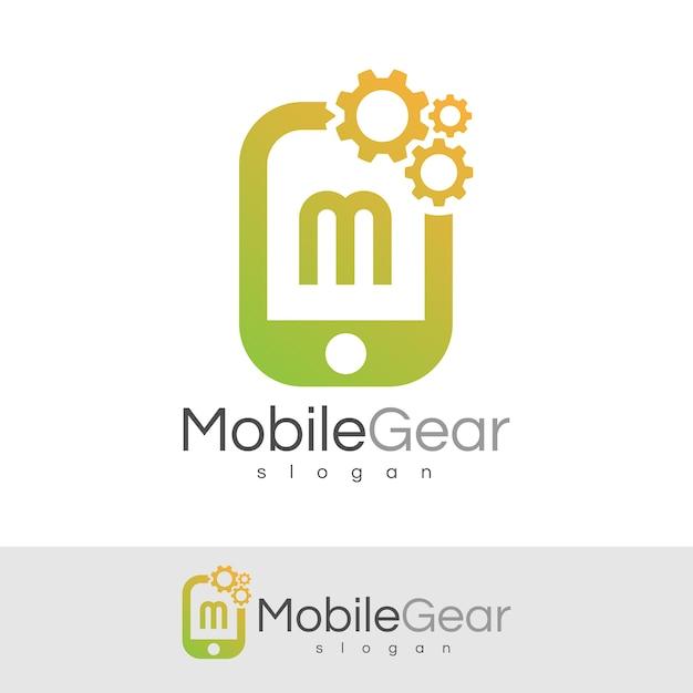 スマートモバイルの初期の手紙mロゴデザイン Premiumベクター