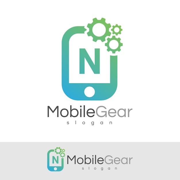 スマートモバイルの初期の手紙nロゴデザイン Premiumベクター