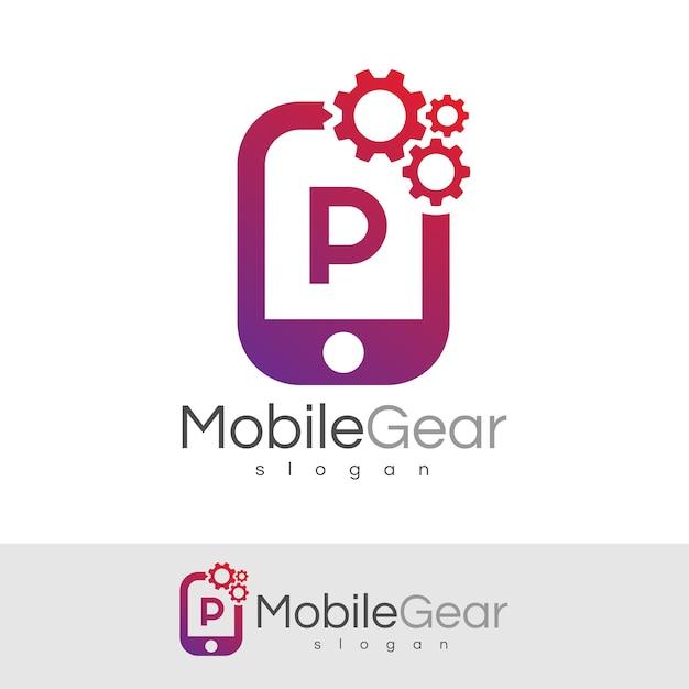 スマートモバイルの初期レターpロゴデザイン Premiumベクター