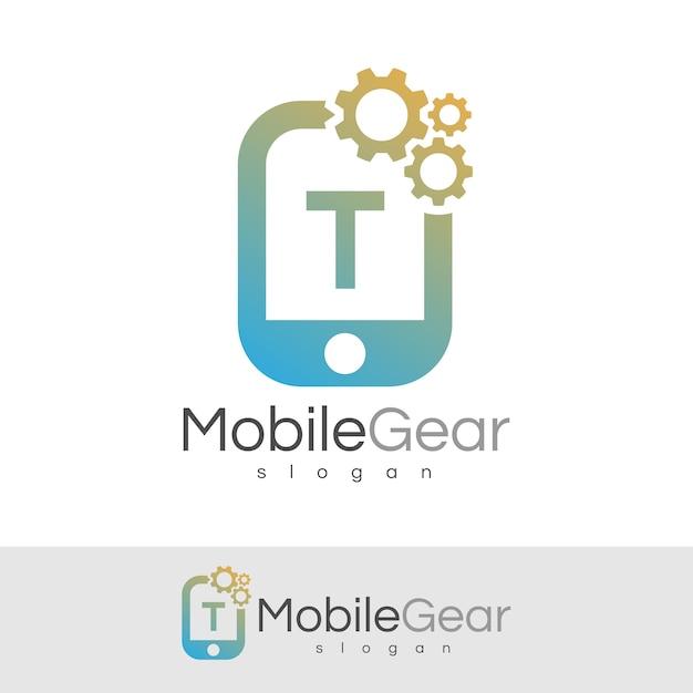 スマートモバイルの初期の手紙tロゴデザイン Premiumベクター