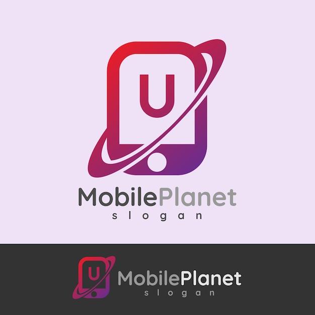 スマートモバイルの初期の手紙uロゴデザイン Premiumベクター