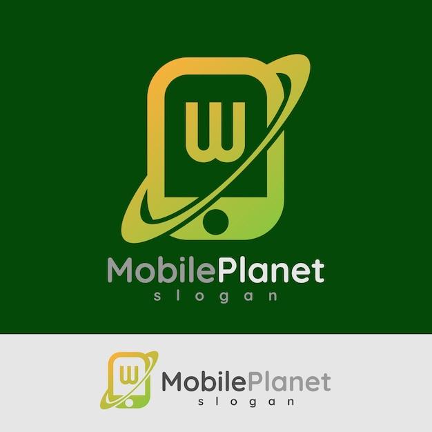 スマートモバイルの初期の手紙wロゴデザイン Premiumベクター