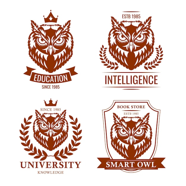 Smart owl set. school or college old emblem, educational heraldry, symbol of knowledge. vector illustrations collection isolated on white background for education Free Vector