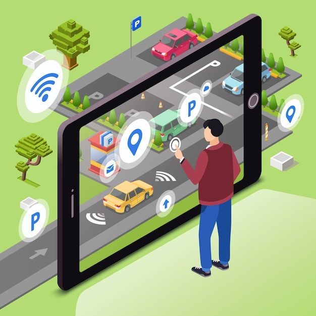 Smart parking. Man user with smartphone touch screen control car driving to park Free Vector
