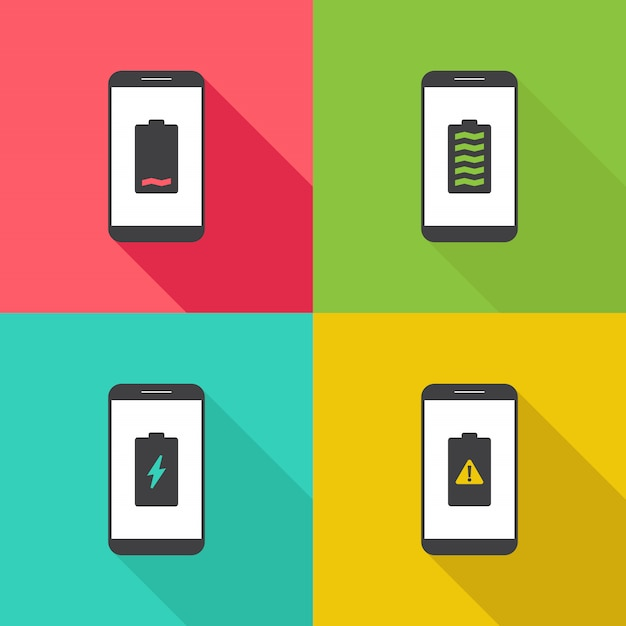 Smart phone battery notification flat design illustration Premium Vector