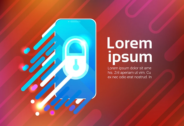 Smart phone lock sceern data privacy protection security concept identification app smartphone Premium Vector