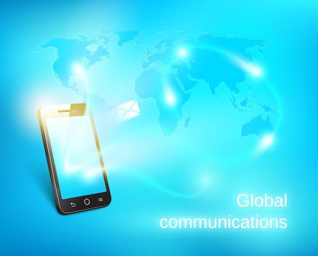 青い世界地図の背景にメッセージを送信するスマートフォン 無料ベクター