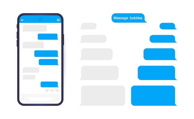 Smart phone with messenger chat screen. sms template bubbles for compose dialogues. Premium Vector