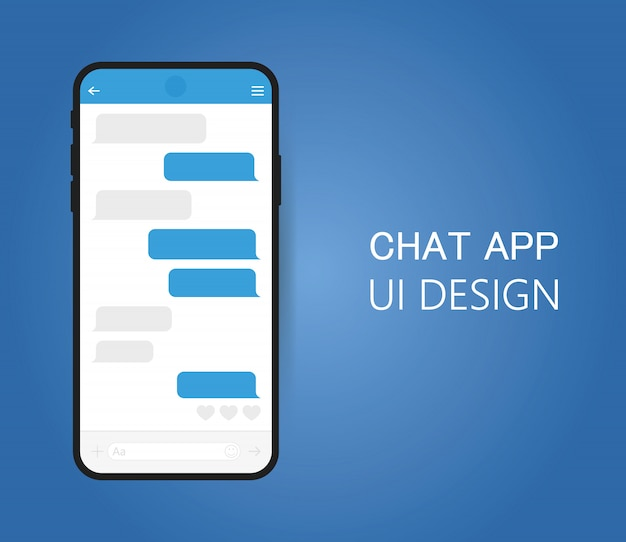 Smart phone with messenger chat screen. Premium Vector
