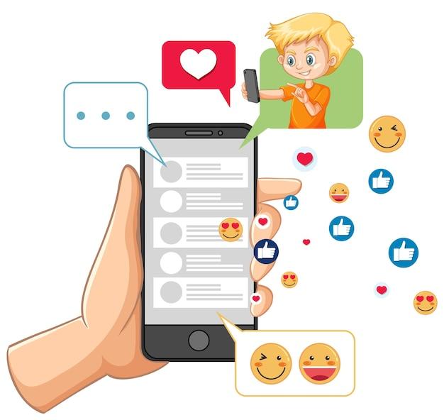 Смартфон с темой значка социальных сетей, изолированной на белом фоне Premium векторы