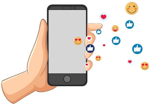 白い背景で隔離のソーシャルメディアアイコンテーマを持つスマートフォン 無料ベクター