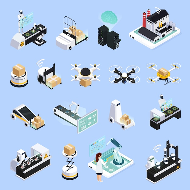 Smart production isolated collection Free Vector