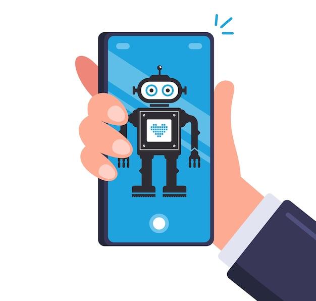 Умный робот в мужском смартфоне. android на мобильном устройстве. плоская иллюстрация. Premium векторы