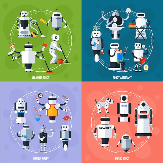 Smart robots concept Premium Vector