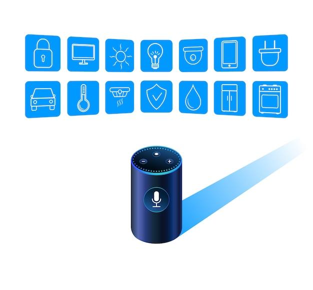 Smart speaker assistant Premium Vector