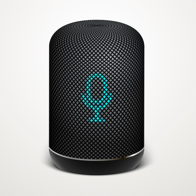 Smart speaker illustration. voice search, search technology. Premium Vector