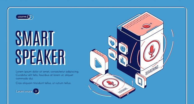Smart speaker landing on retro colored design Free Vector