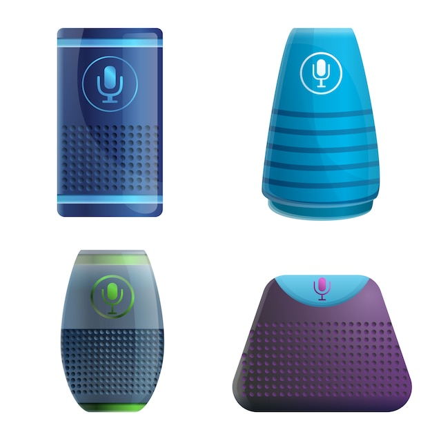 Smart speaker set, cartoon style Premium Vector