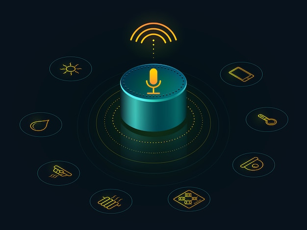Smart speaker with voice control of your home. voice activated devices reports, answers qu Premium Vector