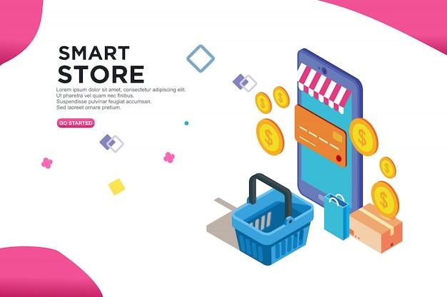 Smart store isometric design Premium Vector