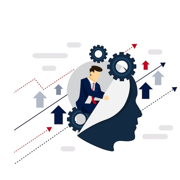 Smart system businessman strategy illustration concept Free Vector