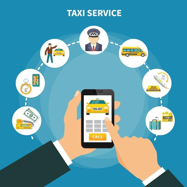 Smart taxi app composition Free Vector