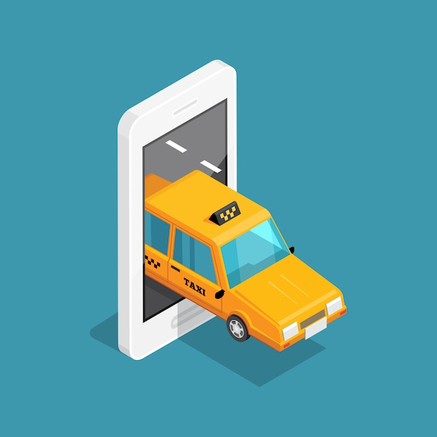 Smart taxi isometric concept Free Vector