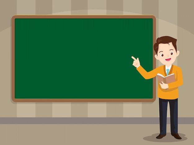 Smart teacher standing in front of chalkboard Premium Vector
