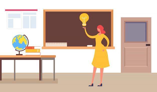 Smart teacher standing near blackboard Premium Vector