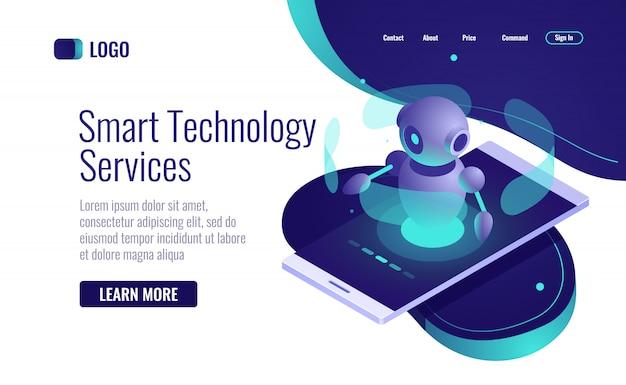 Умные технологии значок изометрии, робот-помощник искусственного интеллекта, чатбот Бесплатные векторы