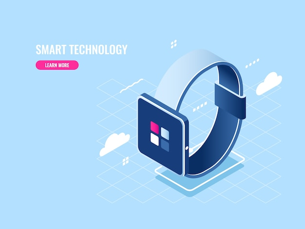 Smart technology isometric icon of smartwatch, digital device, mobile application Free Vector
