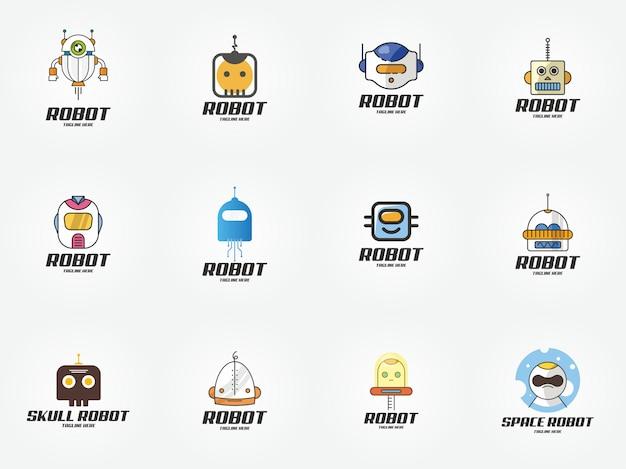 Smart technology robot logo design template icon Premium Vector