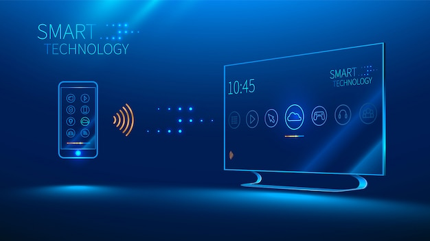 The smart tv is controlled by a smart phone, transmits information Premium Vector