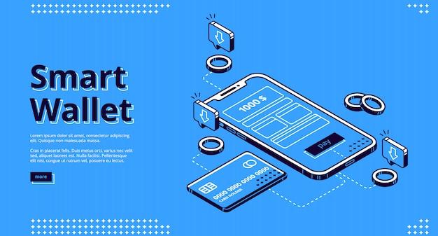 Web di pagina di destinazione isometrica portafoglio intelligente Vettore gratuito