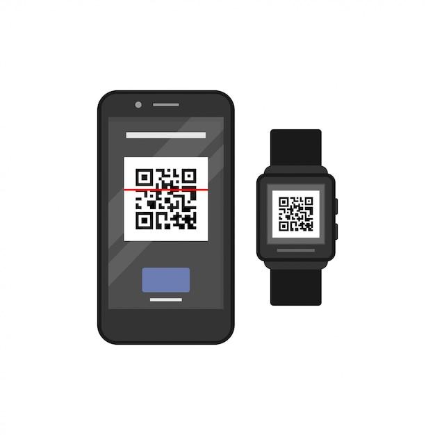 Умные часы и смартфон Premium векторы