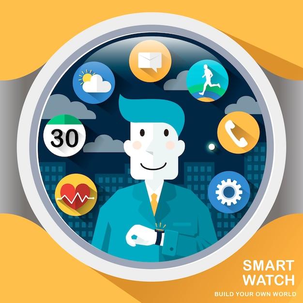 Smart watch applications in flat design style Premium Vector