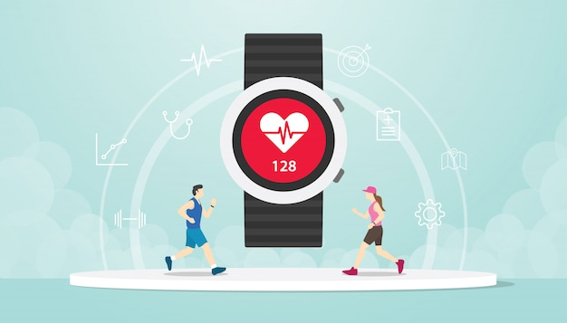 Smart watch apps tracker with hand wrist and people male and female running Premium Vector
