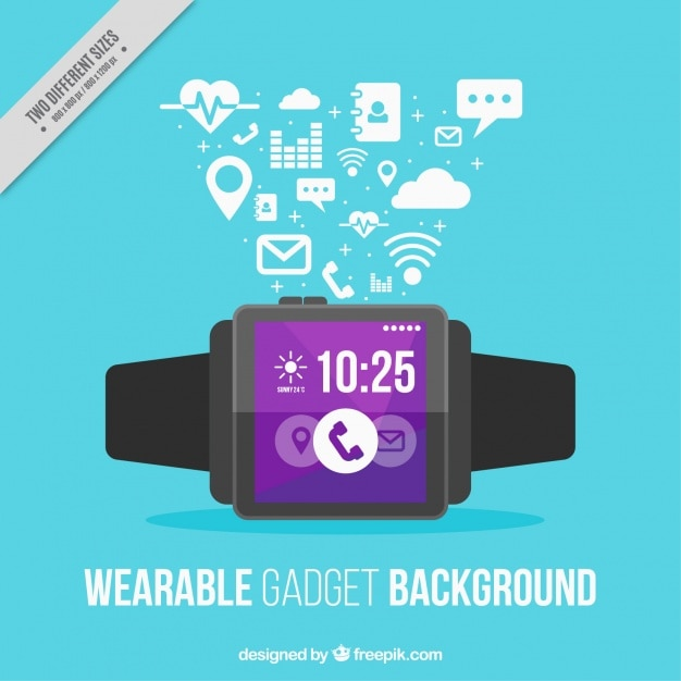 Smart watch on blue background Free Vector