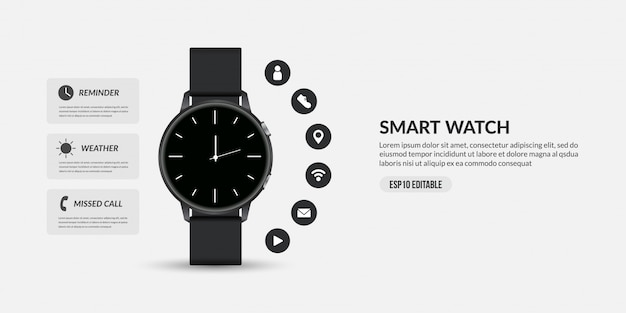 Smart watch for business communication, display different functions and apps icons Premium Vector