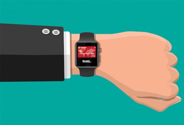 Smart watch contactless payments. Premium Vector