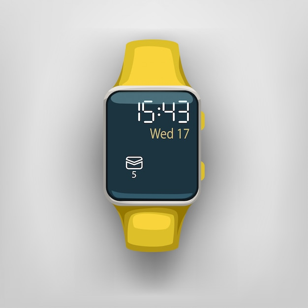 Smart watch on grey background Premium Vector