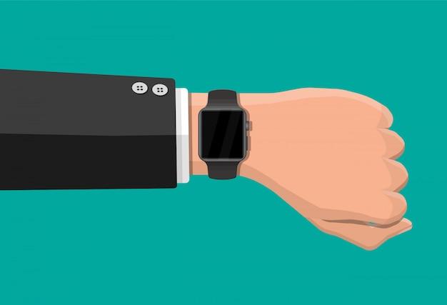 Smart watch on hand Premium Vector