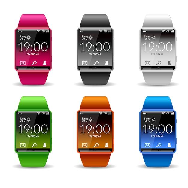 Smart watch icon set Free Vector