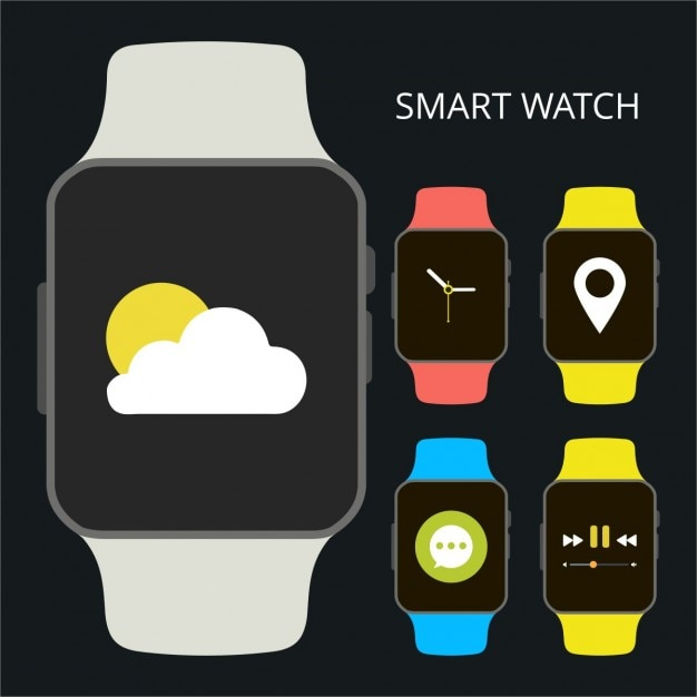 Smart watch icon with different app running Free Vector