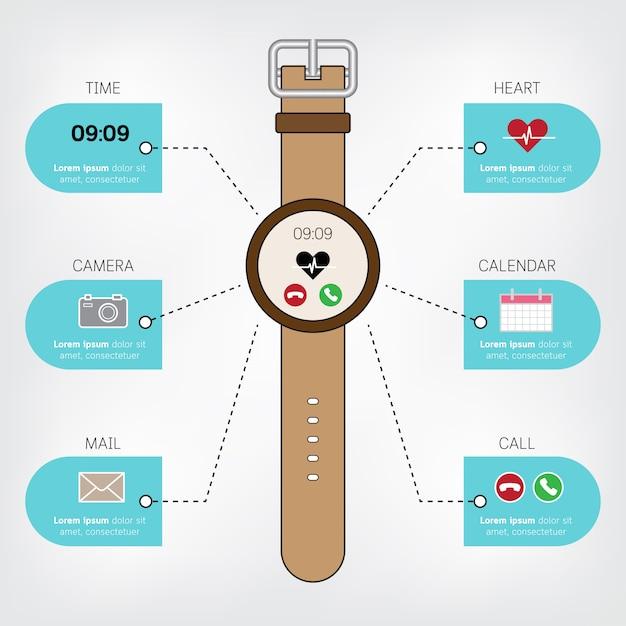 Умные часы инфографики в концепции плоский дизайн с дисплеем значков. Premium векторы