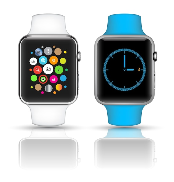 Smart watch isolated with icons Premium Vector